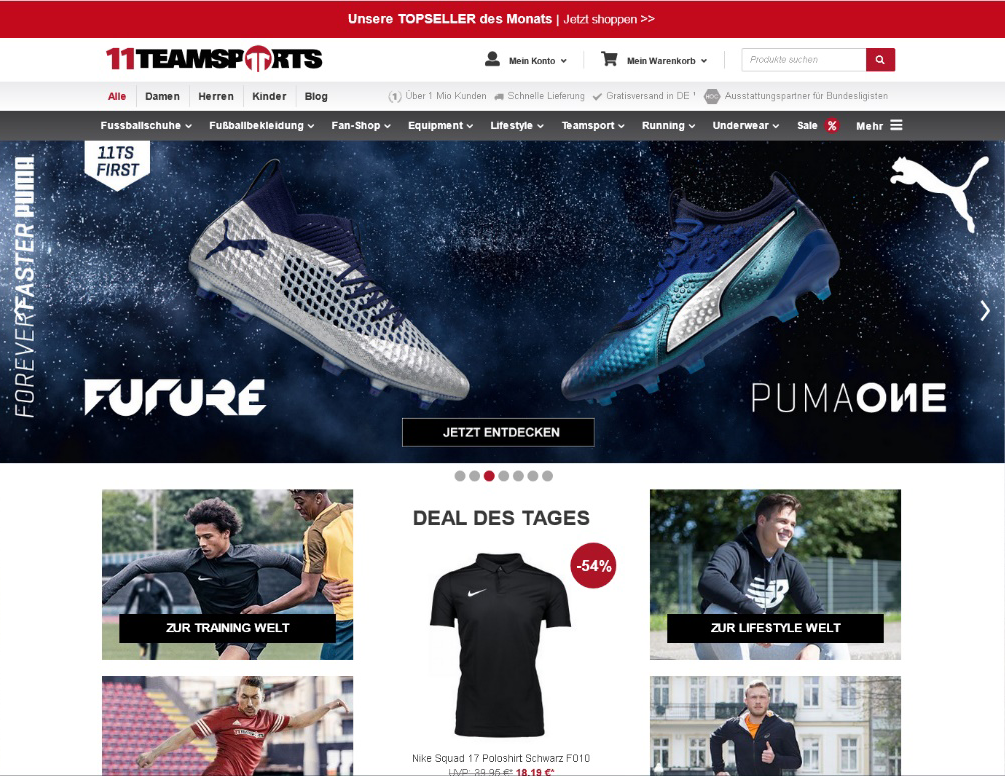 11teamsports - Dynamic Pricing & Markdown Pricing im Onlineshop mit prudsys